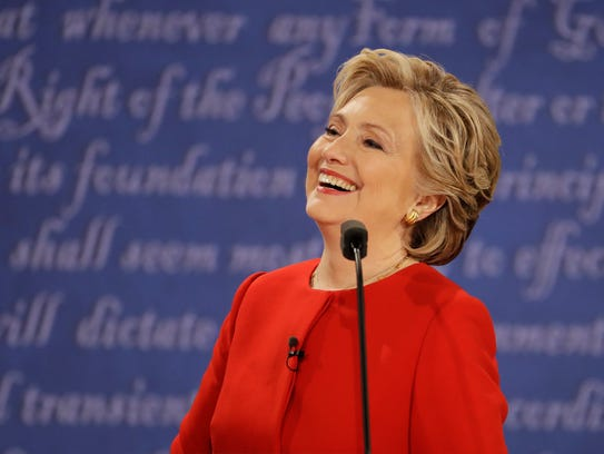 Hillary Clinton laughs during the presidential debate