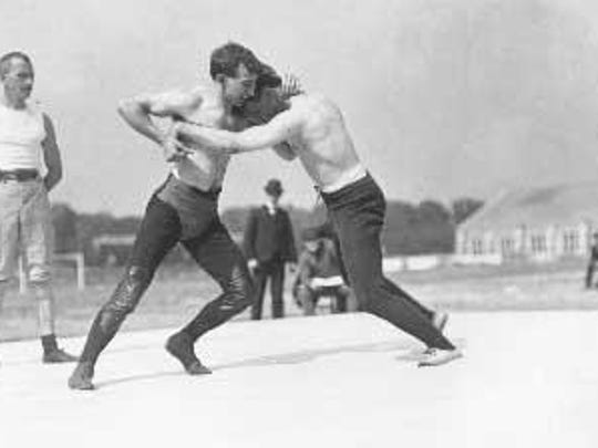 Olympic wrestlers in 1904.
