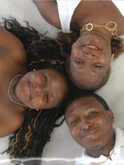 Detrick Jones, pictured with his sister Mariah (left) and his mother Tina (top right)