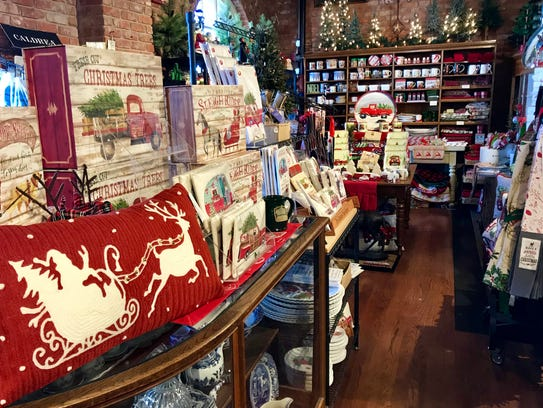 An interior shot of Christmas decorations at Eggemeyer's