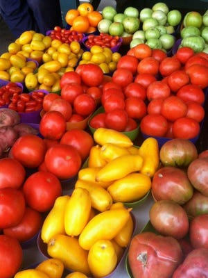 Assortment of tomatoes at the West Tennessee Farmers Market.