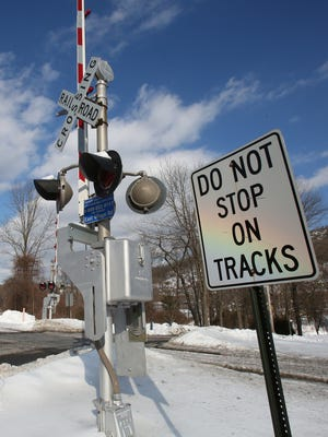 The railroad crossing at East Village Road in Tuxedo, N.Y., on Friday, Feb. 6, 2015. On Jan. 30, 2015, a Port Jervis Line train struck a Mercedes-Benz that was stopped at this railroad crossing.