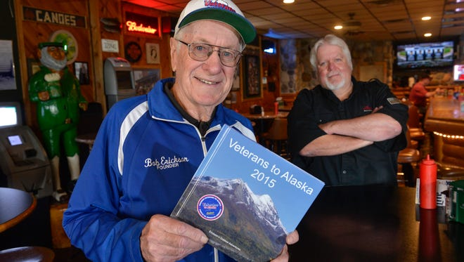 """Bob Erickson, 83, spent $10,000 of his own money to help fund an adventure trip for Vietnam veterans titled """"Veterans to Alaska"""" in 2015. This year, he's working with Pearl Lake Lodge owner Tom """"Rudy"""" Ruether to organize a motorcycle ride to raise funds for future trips. The ride leaves from the lodge Sunday. They were photographed Wednesday."""