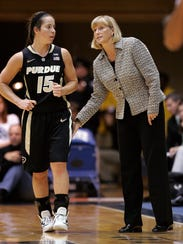 Purdue head coach Sharon Versyp talks with a player