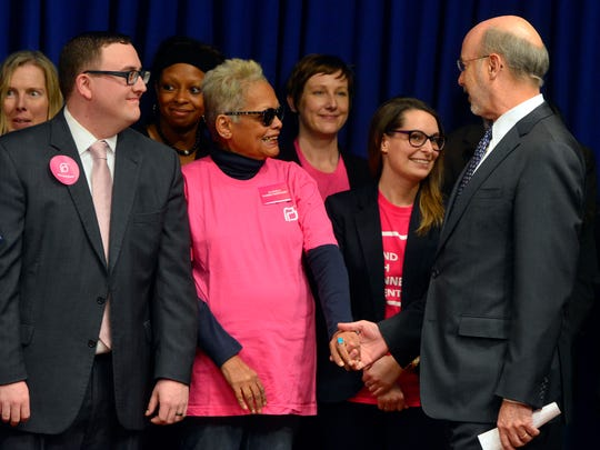 Governor Tom Wolf greets Salome Johnson of Hellam as the Governor joins Cecile Richards, President of Planned Parenthood Federation of America and legislators to discuss the repercussions of the Republican anti-choice bill, Monday April 11, 2016. 