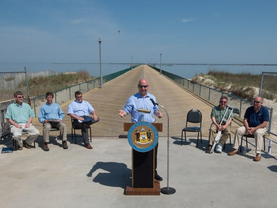 Governor Jack Markell makes remarks at the opening of the Cape Henlopen fishing pier in Lewes after it was closed for major decking repairs.