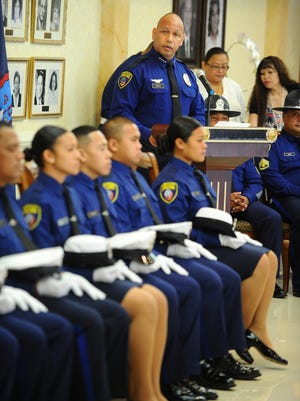 In this file photo, Guam Police Department Chief of Police Joseph I. Cruz addresses trainees of the 6th Police Officers Trainee Cycle during their graduation ceremony at the Government House in Agana Heights.
