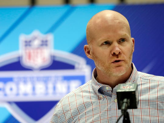 Buffalo Bills head coach Sean McDermott speaks during a press conference at the NFL Combine in Indianapolis.