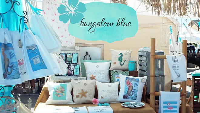 Bungalow Blue Boutique, located on Fort Myers Beach, sells whimsical, beach-inspired pillows and tea towels.