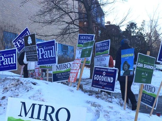 Signs greet voters in Burlington.
