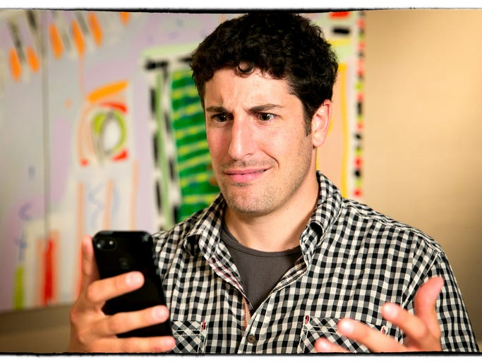 """On USA TODAY's Talking Your Tech series, Jefferson Graham interviews celebrities about their tech experiences. Actor Jason Biggs (""""Orange is the New Black"""") makes a sport of taking on """"haters"""" on Twitter for amusement. Here, in this portrait at his publicist's office in Beverly Hills, he acts out his reaction to a Twitter hate tweet."""
