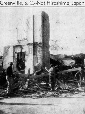 James E. Myers of the American Red Cross took this photo of the wreckage after an explosion at Ideal Laundry. The photo appeared on the front page of The Greenville News on Nov. 21, 1946. Six people died and more than 150 were injured.