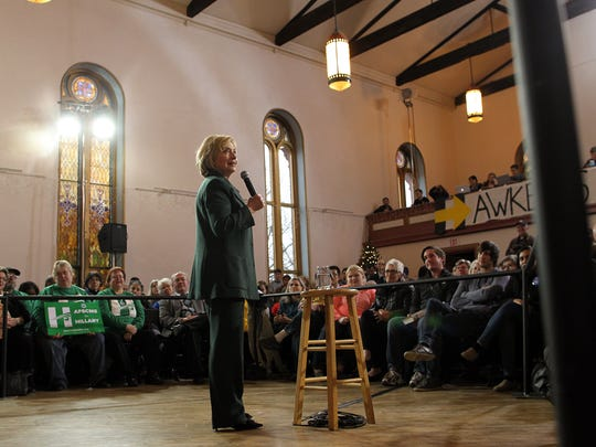 Democratic presidential candidate Hillary Clinton speaks to guests at Old Brick Church on Wednesday, Dec. 16, 2015.
