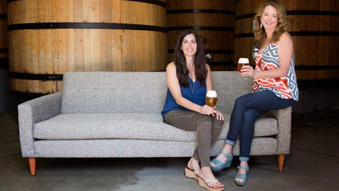 Christine Perich, left, assumed the New Belgium CEO position from Kim Jordan, right, about a year ago. Jordan is now executive chair of the brewery's board of directors.