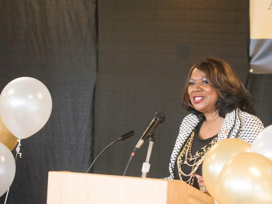 ASU Trustee Brenda Brown Hunter speaks during the ASU 150th Birthday Celebration event on Monday, July 17, 2017, in Montgomery, Ala.