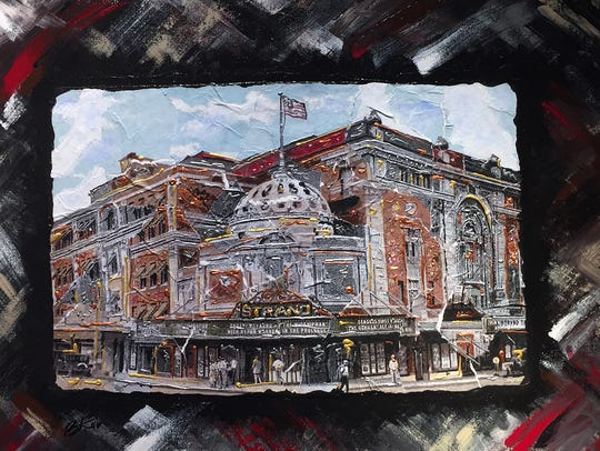The Strand, a mixed media piece by Ron Smith. It was