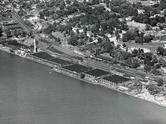 This 1948 image shows the DeLaval Separator Company complex along the east bank of the Hudson River Poughkeepsie.