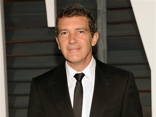 FILE - In this Feb. 22, 2015 file photo, Antonio Banderas arrives at the 2015 Vanity Fair Oscar Party in Beverly Hills, Calif.