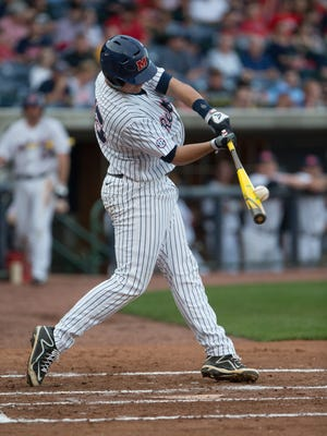 Ole Miss' Colby Bortles (25) drives in a run with a long out.