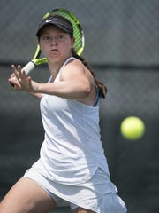 Lauren Lemonds returns a shot during the championship round of the girls state finals Saturday, at North Central.