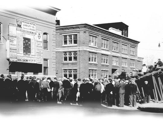 Tiger fans tuned in: Television wasn't around when the Detroit Tigers played St. Louis in the 1934 World Series. Tigers fans in Lansing swarmed the State Journal, where radio and a changeable scoreboard kept them posted. The Tigers lost the series, but won it the next year. From LSJ Sesquicentennial Edition.