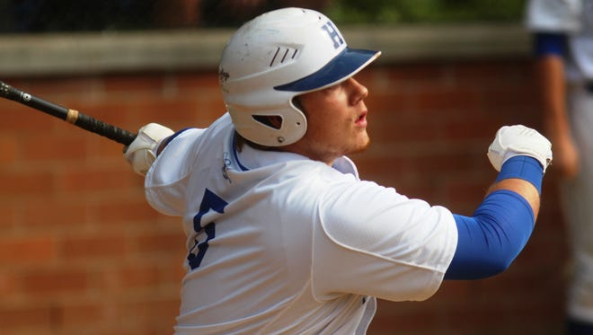 Highlands senior DJ Mills gets a hit in Thursday's 36th District title game against Newport Central Catholic