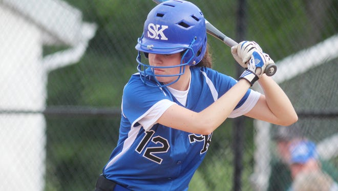 Simon Kenton junior Hannah Batsche eyes the pitcher Monday in the Pioneers' 10-0 loss to North Oldham in the Eighth Region tournament..