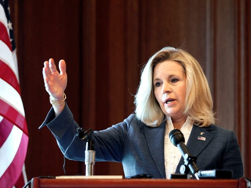 Wyoming Senate candidate Liz Cheney holds a news conference at the Little America Hotel and Resort in Cheyenne, Wyo., on July 17, 2013.
