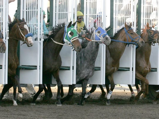 Horses bust out of the gate during the first race of the night on the first day of the racing season at Prairie Meadows back in 2009.