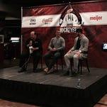 (From left) Joe Kocur, Dani Probert, Darren McCarty and Art Regner talk during HockeyFest Sunday at Joe Louis Arena.
