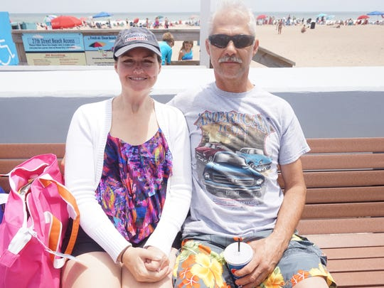 Rodney (right) and Karen (left), first-time visitors to OC from North Carolina