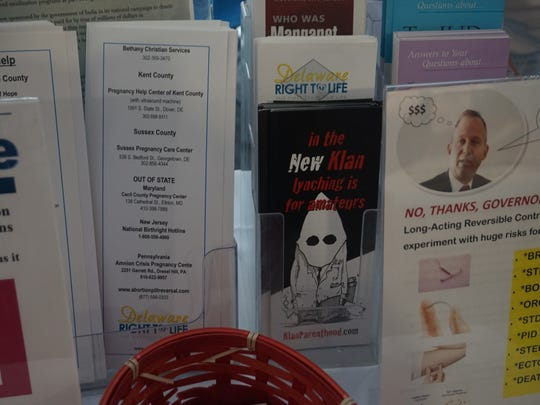 Pamphlets at the Delaware Right to Life booth at the Delaware State Fair.