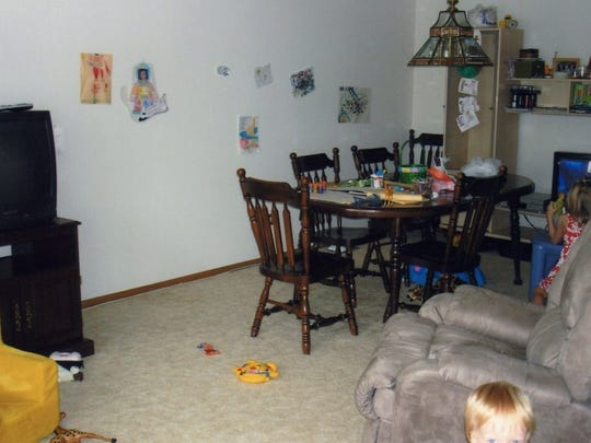 Dining room disaster area.