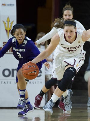 Northwestern's Ashley Deary attempts a steal on ASU's Sophie Brunner at Wells Fargo Arena in Tempe on Dec. 21, 2014.