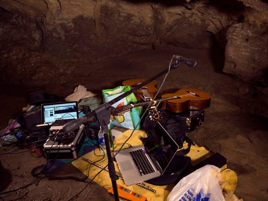 Recording equipment inside a cave at Maquoketa Caves