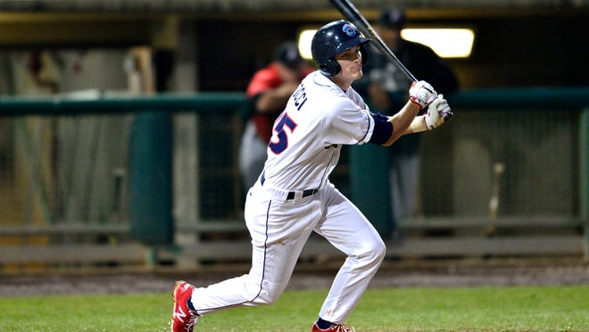 Carlos Tocci takes a swing during Friday's game at FirstEnergy Park in Lakewood.