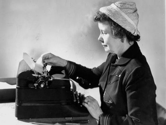 Ione Quinby Griggs crafts a reply to one of her readers