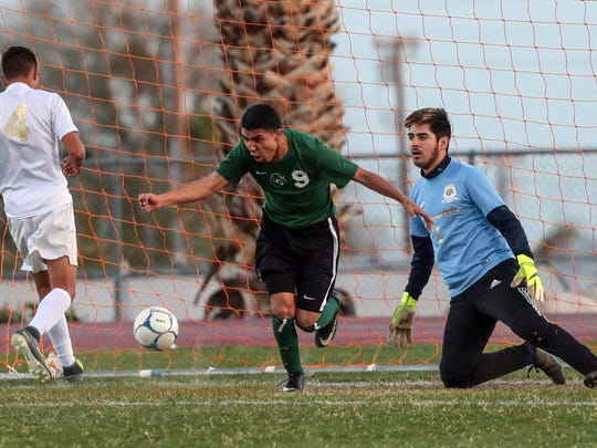 Nogales soccers their first goal against Desert Hot Springs in the first half of the 2nd round of the Division 6 CIF boys soccer tournament on Wednesday, February 22, 2017 in Desert Hot Springs.