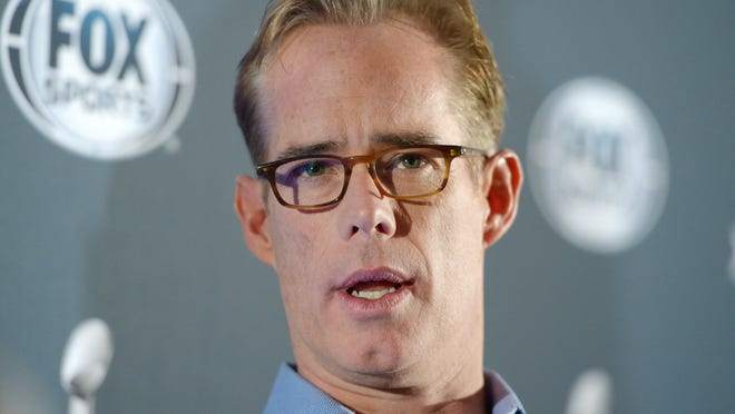 Jan 28, 2014; New York, NY, USA; Joe Buck at Fox Sports press conference at Empire East Ballroom at the Sheraton New York, Times Square in advance of Super Bowl XLVIIII. Mandatory Credit: Kirby Lee-USA TODAY Sports ORG XMIT: USATSI-175190 ORIG FILE ID:  20140128_tcb_al2_022.jpg