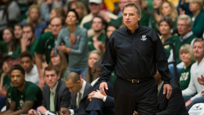 CSU men's basketball coach Larry Eustachy coaches his team from the sideline Sunday during a loss to the University of Colorado at Moby Arena. CSU and Eustachy announced Tuesday night that they've agreed to exercise an option to extend his five-year contract another year through 2019-2020.