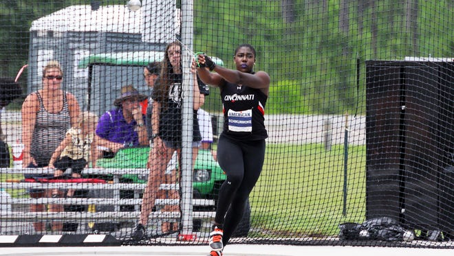 UC sophomore Annette Echikunwoke broke her own school record in winning the American Athletic Conference hammer throw.