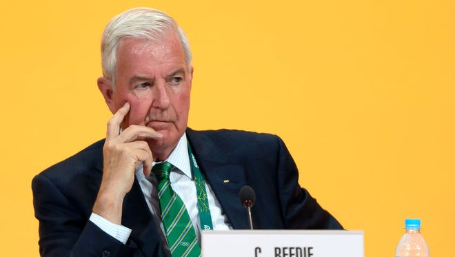 International Olympic Committee (IOC) executive member and current president of the World Anti-Doping Agency Craig Reedie listens during the 129th International Olympic Committee session, in Rio de Janeiro on Aug. 2.