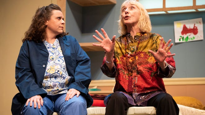 """Shelley Gothard, left, and Janina Birtolo perform a scene from a dress rehearsal for the Naples Players production of """"Ripcord"""" at Sugden Community Theatre in Naples Tuesday night, April 17, 2018."""
