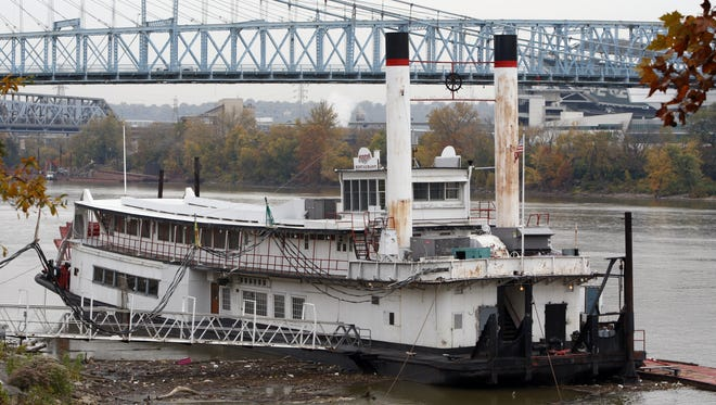 The Mike Fink closed in 2008 for repairs, including a new $500,000 steel hull. It never reopened. It is shown here in a 2013 before it was moved from Covington's riverfront. The Enquirer/Patrick Reddy KY28MIKEFINK KY OCTOBER 27, 2009  The Mike Fink Restaurant on the Covington riverfront.  The Enquirer/Patrick Reddy