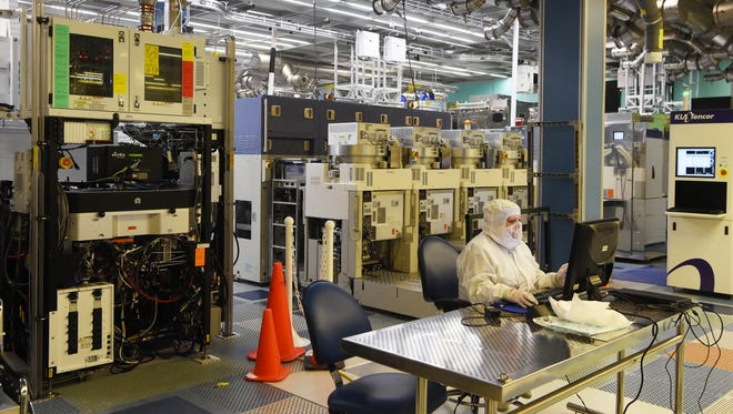 """A view of the """"clean room area"""" inside GlobalFoundries' fabrication plant--known as the """"fab""""--at East Fishkill."""