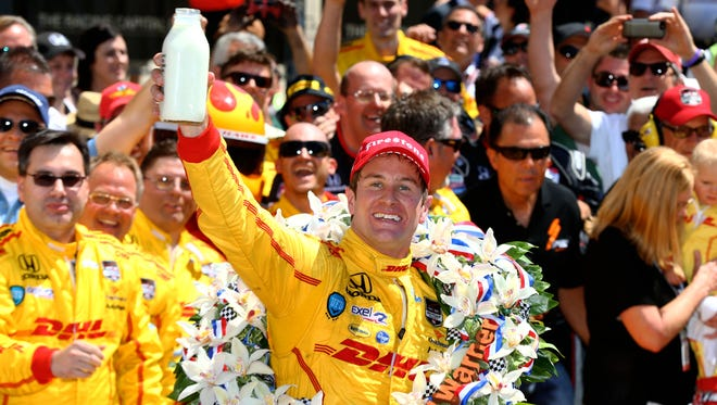 Ryan Hunter-Reay celebrates after winning the 2014 Indianapolis 500.