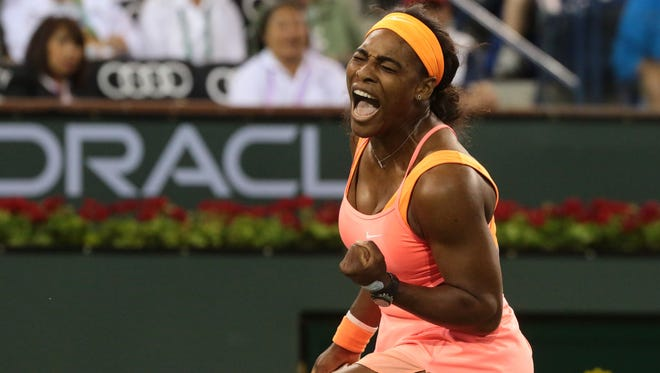 Serena Williams reacts to a point won from Timea Bacsinszky of Switzerland on Wednesday at the BNP Paribas Open in Indian Wells.