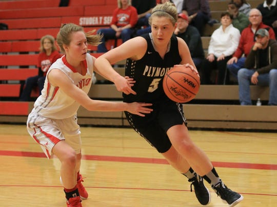Plymouth's Hannah Badger (right) dribbles around Canton's Natalie Winters.