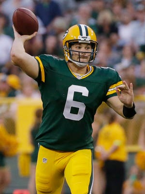 Green Bay Packers quarterback Joe Callahan (6) rifles a pass against the Cleveland Browns at Lambeau Field.