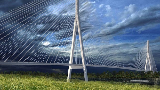 An artist rendering shows one possible design for the planned Gordie Howe International Bridge that will connect Windsor and Detroit.
